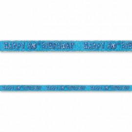 Cartello Happy Birthday 40 anni Blu Glitz