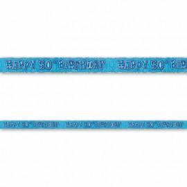 Cartello Happy Birthday 50 Anni Blu Glitz