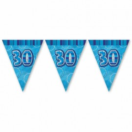 Bandierine 30 Anni Blu Glitz