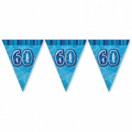 Bandierine 60 Anni Blu Glitz
