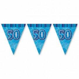 Bandierine 50 Anni Blu Glitz