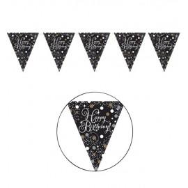 Bandierine triangolari Happy Birthday Elegant