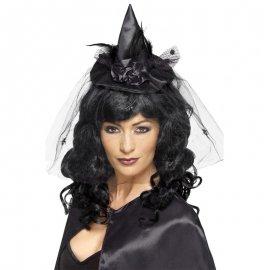Cerchietto Nero con Cappellino da Strega