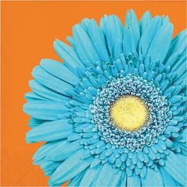 16 Tovaglioli Arancioni con Fiore Blu 33 cm