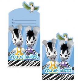 8 Invitaciones Zebras Infantiles