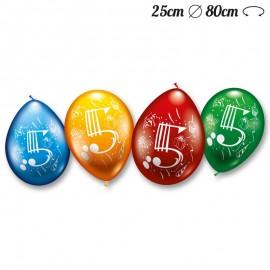Palloncini Numero 5 Rotondi M02 25 cm