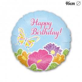 Palloncino Happy Birthday Fiori Farfalla Foil Rotondo 46 cm