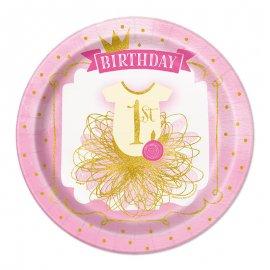 8 Piatti Primo Compleanno Bambina 23 cm