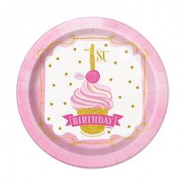 8 Piatti Primo Compleanno Bambina 18 cm