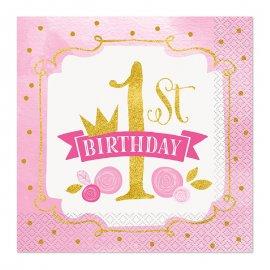 16 Tovaglioli Primo Compleanno Bambina