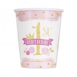 8 Bicchieri Primo Compleanno Bambina 266 ml