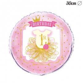 Palloncino Primo Compleanno Bambina 30 cm