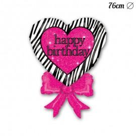Palloncino Happy Birthday Fiocco Foil Cuore 76 cm