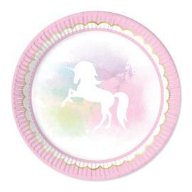 8 Piatti Unicorno Rosa 23 cm