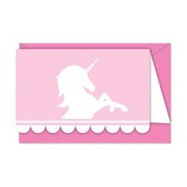 6 Inviti Unicorno Rosa