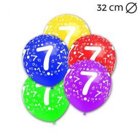 Palloncini Numero 7 Rotondi 32 cm