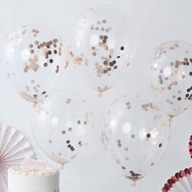 5 Palloncini con Coriandoli Rosa Gold 30 cm