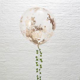 3 Palloncini di Coriandoli Rosa Gold Giganti 90 cm