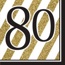 16 Tovaglioli 80 Nero e Oro