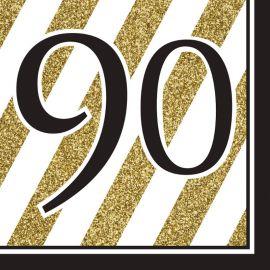 16 Tovaglioli 90 Nero e Oro