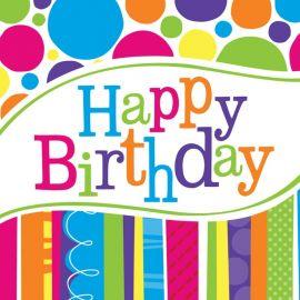 18 Tovaglioli Happy Birthday Righe e Punti 33cm