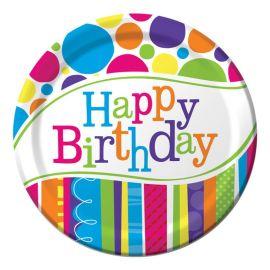 8 Piatti Happy Birthday Righe e Pois 18 cm
