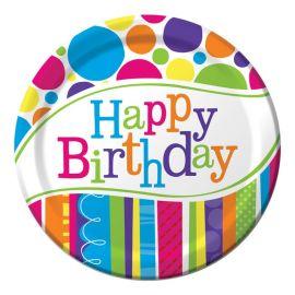 8 Piatti Happy Birthday a Righe e Pois 23 cm