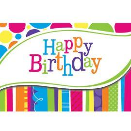 8 Inviti Happy Birthday Righe e Pois