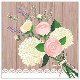 16 Tovaglioli Matrimonio Rustico 25 cm