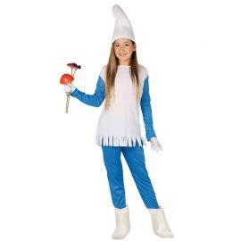 Costume Azzurro da Puffa per Bambina con Frange