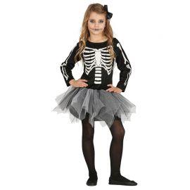 Costume da Scheletro per Bambina con Manica Lunga