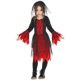 Costume da Bambina Gotica con Velo Corto Nero