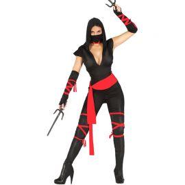 Costume da Ninja per Donna con Nastri Rossi