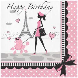 18 Tovaglioli Parigi Buon Compleanno 33 cm